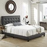Boyd Sleep Murphy Upholstered Platform Bed Frame Mattress Foundation with Tufted Panel Headboard and Strong Wood Slat Supports: Faux Leather, Black, Full