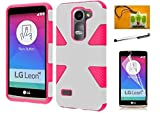 LG Leon C40 / LG Destiny L21G /LG Power L22C/ (T-Mobil / Metro-PCS / Tracfone / Net10), LF 4 in 1 Bundle, Dynamic Slim Rugged Hybrid Dual Layer Cover Case , Stylus Pen, Screen Protector & Screen Wiper Accessory (Dynamic Pink / White)
