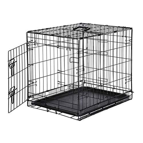 AmazonBasics - Gabbia in metallo richiudibile, per cani, Portiera Singola, 61 cm