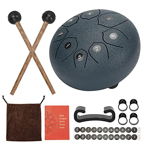 Aceshop Tambor de Lengua De Acero con 8 Notas Instrumento de Percusión de 6 Pulgadas Kit de Tambor de Mano con 2 Baquetas de Batería Libro para Educación Musical, Práctica de Yoga y Meditación
