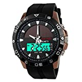 Men's Solar Power Military Dual Time Zones Silicone Band Sports Wrist Watch (Brown)