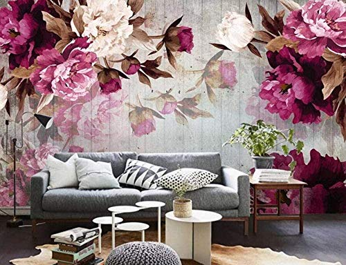 Papel pintado de madera de peonía pintado a mano Papel tapiz no tejido 3D Murales modernos Decoración de pared Pared Pintado Papel tapiz 3D Decoración dormitorio sala sofá mural-430cm×300cm