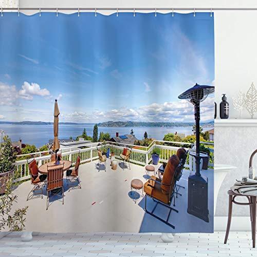 ABAKUHAUS Paisaje Cortina de Baño, Casa Terraza Balcón, Material Resistente al Agua Durable Estampa Digital, 175 x 200 cm, Multicolor