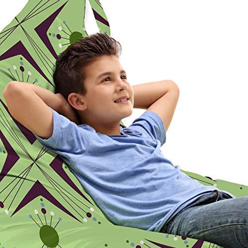 ABAKUHAUS Mitte des Jahrhunderts Unicorn Spielzeugtasche Liegestuhl Lounger Stuhl, Atomic Boomerang, Hochleistungskuscheltieraufbewahrung mit Griff, Apfelgrün Indigo