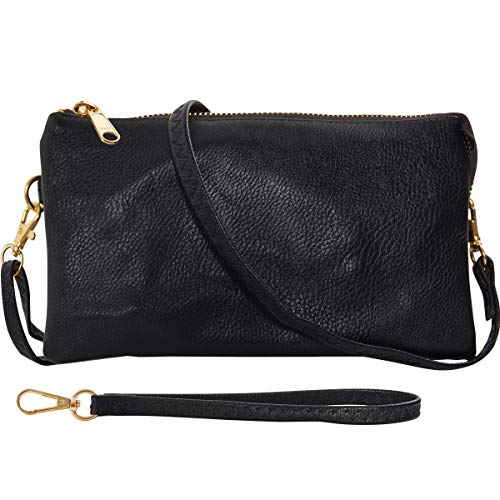 Humble Chic Vegan Leather Wristlet Clutch or Small Purse Crossbody Bag, Includes Adjustable Shoulder and Wrist Straps, Black