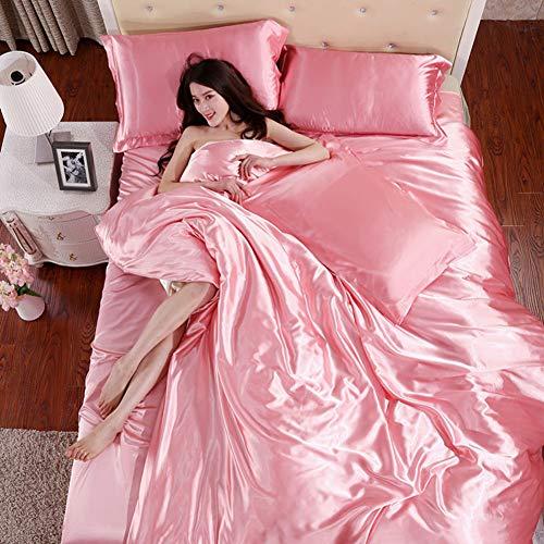 KongEU Juego ropa cama satén 4 piezas fácil cuidado