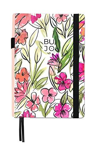 Takenote Cahier Bullet Journal Brush/Carnet pointillé - 14,5 x 21 cm - Reliure Suisse- Couverture rigide en tissu - 188 pages en papier Premium (rose), 424-0