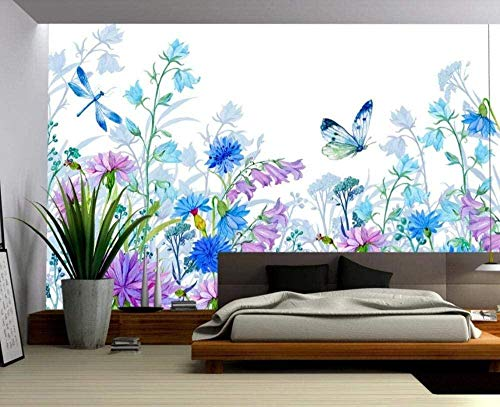 Mural Wallpaper Photo Poster Wall DecorationWatercolor Flower Butterfly Plant freshBackground Wall Background Painting Panorama 3D Wall Mural Decor 175 * 250cm