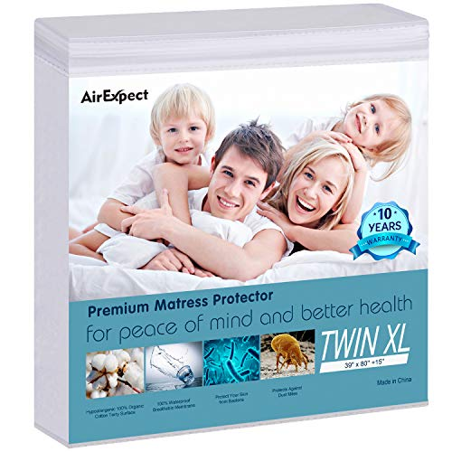 AirExpect Waterproof Mattress Protector Twin XL Size 100% Organic Cotton Hypoallergenic Breathable...