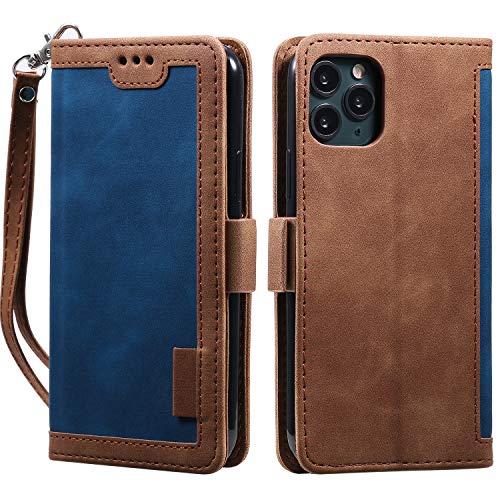 Miagon Retro Brieftasche Hülle für iPhone 12 Mini,PU Ledertasche Case Cover Handyhülle mit Kartenfach Geld Slot Ständer TPU Bumper Flip Schutzhülle,Blau Braun