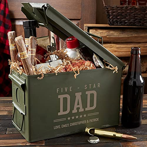 Five Star Dad Personalized Ammo Box, Gifts for Dad, (50 Cal)