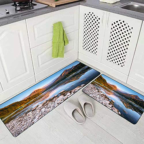 Musesh 2 Pieces Kitchen Rugs and Mats Non Skid Washable Great View of The Azure Pond Glowing by Sunlight Popular Tourist Kitchen Rug Set 17'X48'+17'X24' Kitchen Carpets and Rugs Modern Kitchen Rug