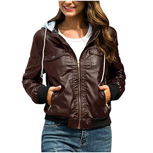 GOKOMO Damen Jacke Kapuze Abnehmbarer Reißverschluss Kurze Lederjacke Top BraunFrauen nehmen Lederjacke-entfernbare Reißverschluss-Kappen mit Kapuze warme Kurze Mäntel Outwear ab(A,Large)