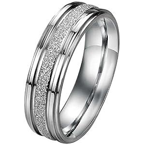 JewelryWe Schmuck 6mm Breite Edelstahl Herren-Ring Partnerringe Sandgestrahlt Hochzeit Band Farbe Silber Größe 71