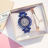 DSGTR Business Einfache Uhr Lady Magnet Schnalle Uhr Lucky Flower Watch Lady Water Diamond Uhr Smart Bracelet Multifunktion