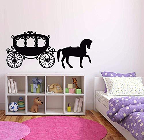 Meisjes Room Decor koets prinses paard muursticker leuke kinderkamer muurschildering koets muurtattoos prinses stijl muurkunst 132 * 57 cm