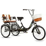 Triciclo para Adultos Triciclos Adultos con Cesta De Compras Y Asiento Trasero Bicicleta De 3 Ruedas para Personas Mayores Mujeres Hombres Trikes Recreación Compras(Color:Negro)
