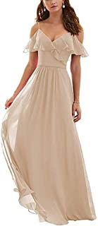 JONLYC A-Line Ruffled Cold-Shoulder Chiffon Long Bridesmaid Dress Evening Gowns