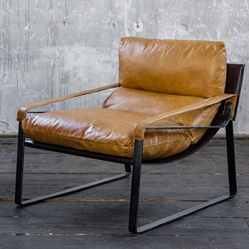 KAWOLA fauteuil kube clubstoel vintage leer cognac