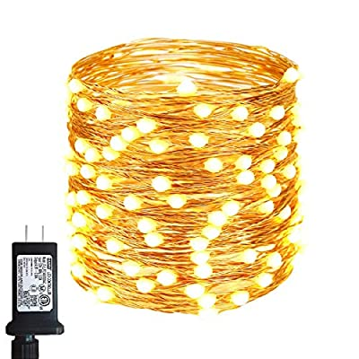 55FT 150LED Fairy Lights Plug in, Upgraded Super Bright 8 Modes Fairy String Lights for Valentine's Day Decorations, Waterproof Copper Wire Twinkle Lights for Indoor & Outdoor Use (Warm White)
