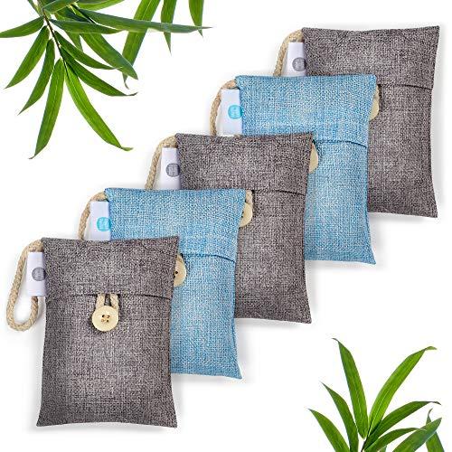 Set Of 5 Bamboo Charcoal Bags AKA Activated Charcoal Bags, Bamboo Charcoal Air Purifying Bag, Air Purifying Bags, Activated Charcoal Odor Absorber. Used As Shoe Deodorizer, Closet Deodorizer & More…
