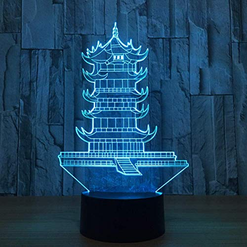 Modelo de torre de grúa amarilla Interruptor de tacto 3D 7 variaciones de color Lámpara de mesa de arquitectura china para interiores El mejor regalo para amigos