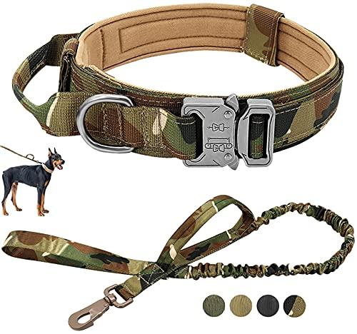 DHGTEP Collar De Perro Táctico Militar Correa De Perro Grande Mediano Plomo para Shepard Alemán Caminando Collar De Perro De Control De La Manija (Color : Multi-Colored, Size : L)