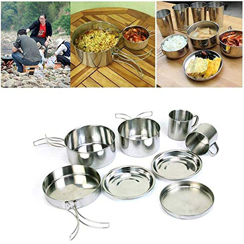 8pcs Camping Kochgeschirr-Kit Outdoor Camping Cookware Portable Stainless Steel Hiking Backpacking Picnic Cooking Set Pan Pot Cup Cookset