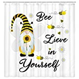 Lustiger Kinder-Duschvorhang – niedlicher Zwerg Sonnenblume Biene, motivierende, inspirierende Zitate, pädagogische Badezimmerdekoration – weißer Stoff Duschvorhang-Sets 180 x 180 cm