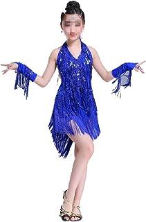 ドレスプリンセスコスチューム 女の子子供110-170センチメートルフリンジダンスドレスダンスステージパフォーマンス競争社交ダンス衣装 肌にやさしい通気性 (色 : 青, サイズ : 160cm)