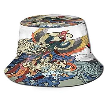 Bucket Hats Fishing Hat,Japanese Peacock Tattoo Phoenix Fire Bird,Hiking Safari Sun Caps Traveling forMen&Women for OutdoorGardening