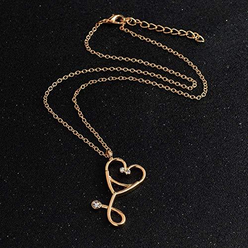 Collana con ciondolo a forma di cuore, per medicina, infermieristica, dottore, idea regalo medica, alla moda, con stetoscopio