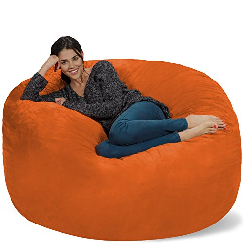 Chill Sack Bean Bag Chair: Giant 5' Memory Foam Furniture Bean Bag - Big Sofa with Soft Micro Fiber Cover - Orange
