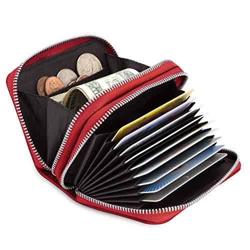 Everwell Kreditkartenetui Damen mit Münzfach, Leder Klein Kreditkarten Etuis mit RFID Schutz und Reißverschluss, Viele Fächer Kartenhüllen Kreditkartenhülle Kartenetui Geldbörse Geldbeutel, Rot