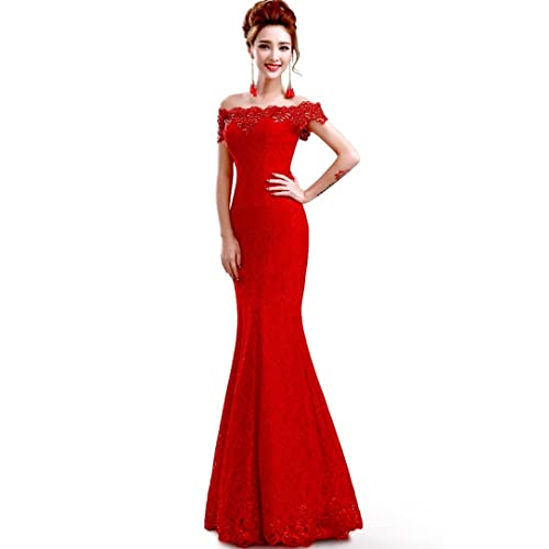 1c3a1f48a56 Babyonline Off Shoulder lace red Mermaid Evening Formal Bridesmaid Dress