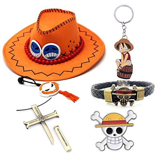 CREPUSCOLO One Piece Portgas D Ace Cap Sombrero para el Sol, Monkey D. Luffy Pirate Pulsera Pulsera, Llavero, Botón de Insignia de una Pieza, Collar, Gran Regalo para fanáticos del Anime