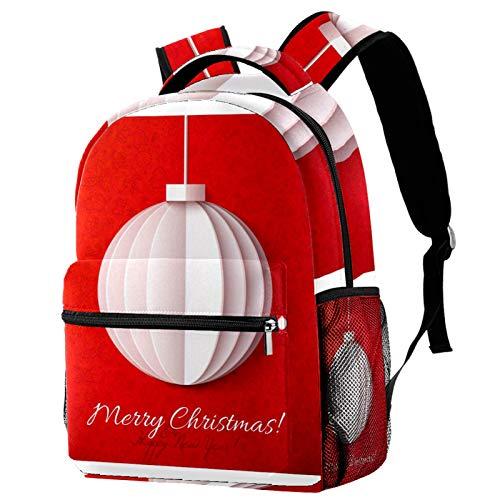 Weihnachtliche weiße Laterne, Origami-Papier auf rotem Rucksack, Schultasche, Büchertasche, Wanderrucksack, Reiserucksack