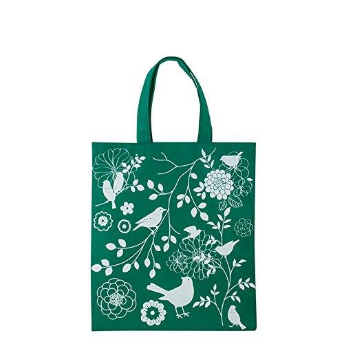1x Einkaufstasche Motiv VÖGELCHEN grün | 28 x 32 cm | Polypropylen | PP-Non-Woven-Tasche | Vliestasche | Stofftasche | Tragetaschen | Tüten | Verpackung