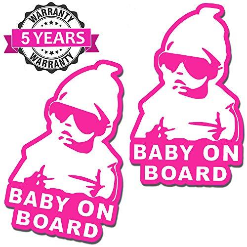 SkinoEu® 2 x Adesivi Vinile Stickers Autoadesivi Bimbo a Bordo Baby On Board Bambino per Auto Moto Finestrino Porta Tuning B 171