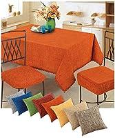 casa tessile rain tovaglia copritavolo ciniglia varie misure - arancio, 6 posti 140x180 cm.