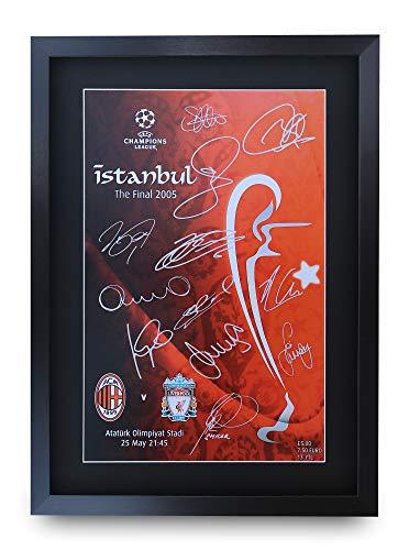 HWC Trading Poster mit Autogramm und Autogramm von Liverpool 2005, A3, Fußball-Geschenk, gerahmt, A3
