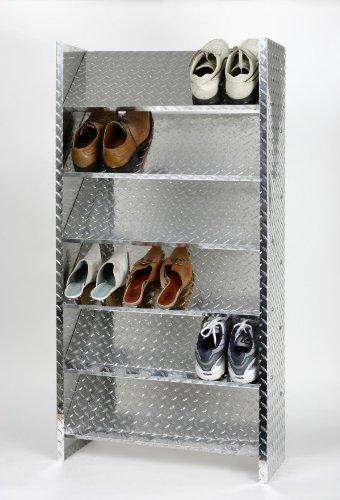 Schuhregal Metall ALU, 125 x 60 x 26 cm, 18 Paar, 6 Böden, glänzend, Marke: Szagato, Made in Germany (Design-Schuhschrank 60cm breit; Regal für Schuhe)