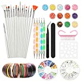 Nail Art Design Kit Set Cepillos Decoraciones Pegatinas Decoraciones...