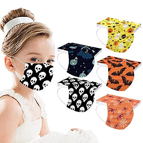 50 Piezas Niños Infantil con Elástico para Los Oídos 3 Capa Transpirables Plegables con Pinza Nasal,Resistente al Polvo y al Viento,Patrón Escuela, Fiesta