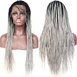 BLUPLE Micro Braided 1b Ombre to Grey Synthetic Lace Front Wigs Fully Hand Tied Heat Resistant Hair Braiding Styles Fiber Hand Braided Wig for Black Women (24 Inch, Micro Braided,#1B/Grey)