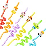 24Pcs Toy 4th Reusable Straws for Kids Toy Theme Party Decorations Supplies Woody Buzz Lightyear Character Drinking Straws Cartoon Plastic Colorful Straws Toy 4th Party Favors for Boys