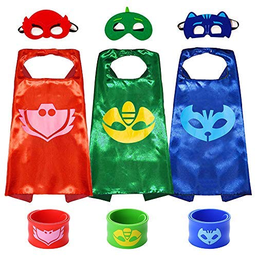 Superhero Capes with Masks Double Side Dress up Costumes Festival Christmas Halloween Cosplay Birthday Party Favors for Kids (PJ 3sets)