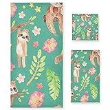 tropicallife Lerous Juego de toallas de perezoso hojas de algodón suave 3 piezas toalla absorbente toalla de mano toalla de baño toalla cuadrada para cocina baño al aire libre