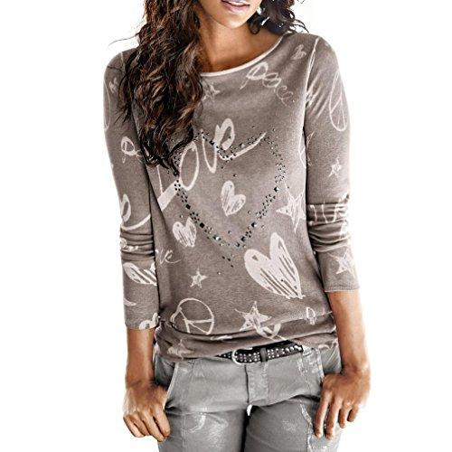 ESAILQ Damen Collection Damen Tagless T-Shirt Basic mit V-Ausschnitt(L,Kaffee)