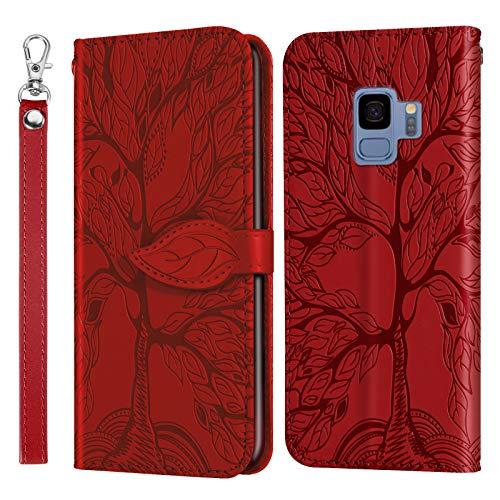 Hülle für Galaxy S9 Hülle Leder,[Kartenfach & Standfunktion] Flip Case Lederhülle Schutzhülle für Samsung Galaxy S9/G960F - EYRX010214 Rot